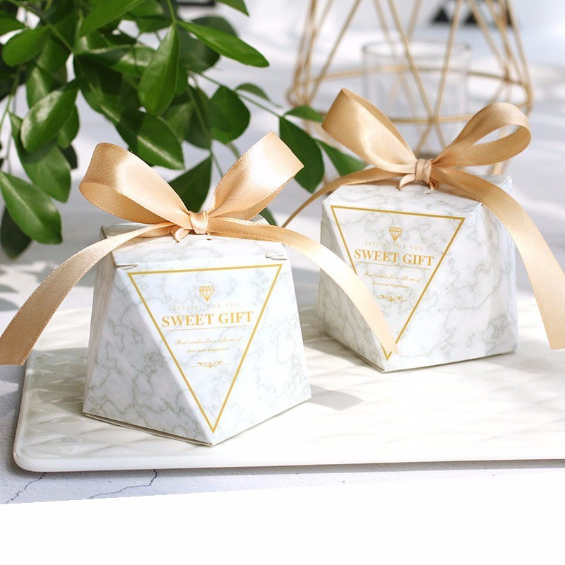 New Top Selling Marble Diamond Paper Candy Boxes Wedding Favors Baby Shower Party Supplies Bomboniere Thanks Christmas Gift Box