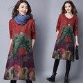 Осень зима основные платья 2016 vintage fashion женская плюс размер свободной печати колен платье с длинным рукавом платья женские femme