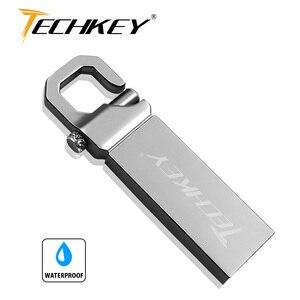 Новый techkey USB флешка 64 ГБ металла Сталь накопитель 32 ГБ памяти мемори cel usb stick высокого Скорость переносной USB-накопитель u диск подарок