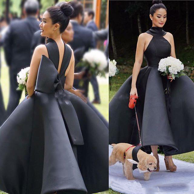 2019   Bridesmaid     Dresses   Country Halter Neck Sleeveless Maid of Honor Party Gowns with Big Bow Graduation   Dress
