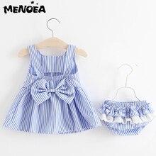 Menoea Baby Clothing Sets Cute Summer Sleeveless Dress Girls Three Piece Short Pants+Dress Set Stripe Patten for 6-24M