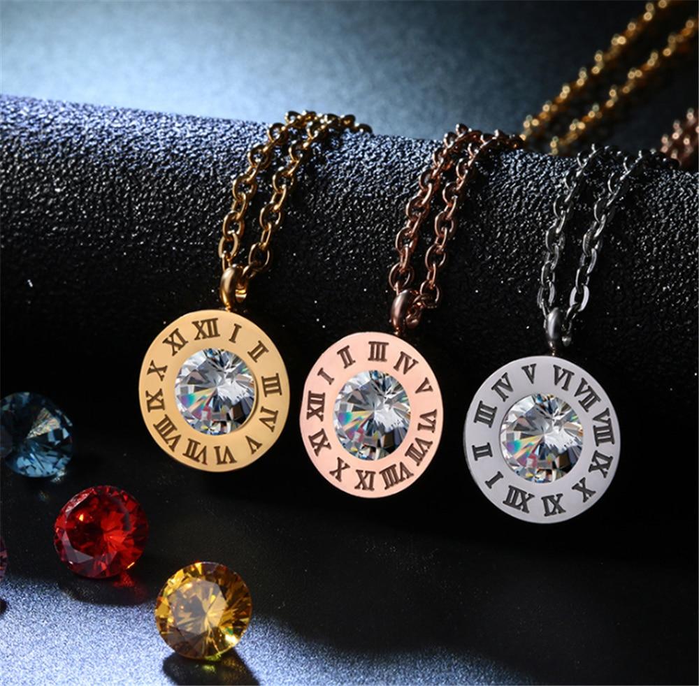 Colgante de cristal redondo collar joyería 3 colores diseño de números romanos anillo de acero inoxidable pulsera pendiente joyería para mujer