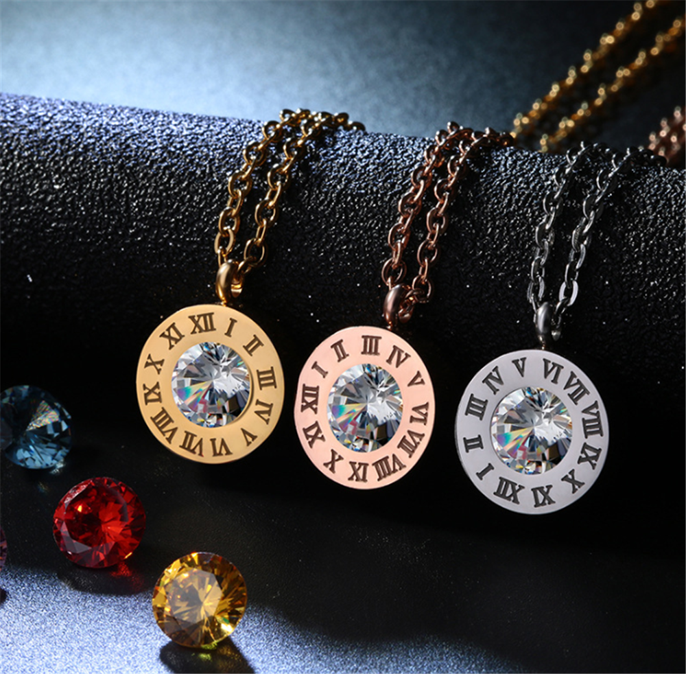 Round Crystal Pendant Necklace Jewelry 3Colors Roman Numeral Design Stainless Steel Ring Bracelet Earring Jewelry For Women