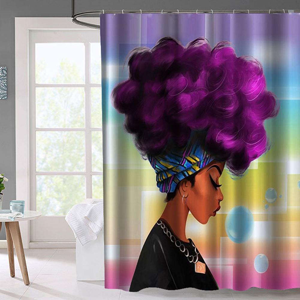 LumiParty Stylish African Woman Shower Curtain Bathroom Curtain Decoration-40