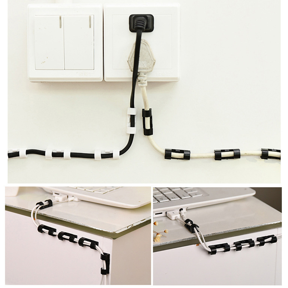 20pcs Wire Organizer Securing Cable Clamp Storage Clips Adhesive Buckle Data Line Fixed Fit Data Telephone Line Cables Sleeve