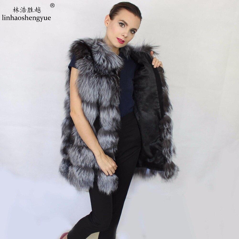 Linhaoshengyue 72 CM UZUN Gümüş tilki ceket kırmızı tilki kürk - Bayan Giyimi - Fotoğraf 4
