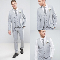 Light Grey Wedding Slim Fit Mens Suits 2019 High Quality Single Breasted Mens Suits Groom Male Suits 3 Pieces(Jacket+Pant+Vest)