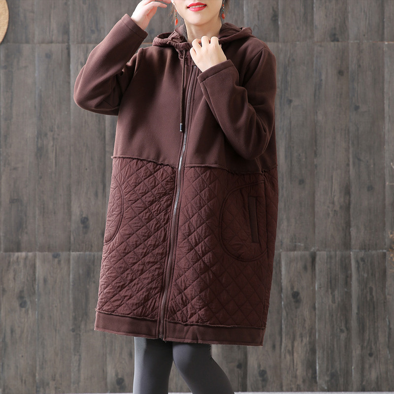 2019 Autumn And Winter Women   Trench   Coat Fashion Hooded Plus Cotton Overcoat Female Windbreaker Casual Long Outerwear Top R612