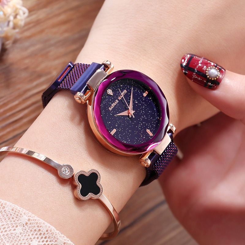 Rose Gold Women Watch Luxury Brand Steel Ladies Quartz Wristwatches Fashion Star Dial Rhinestone Female Watch Relogio Feminino fashion brand v6 quartz women watches rose gold steel thin case classic simple dial leather strap ladies watch relogio feminino