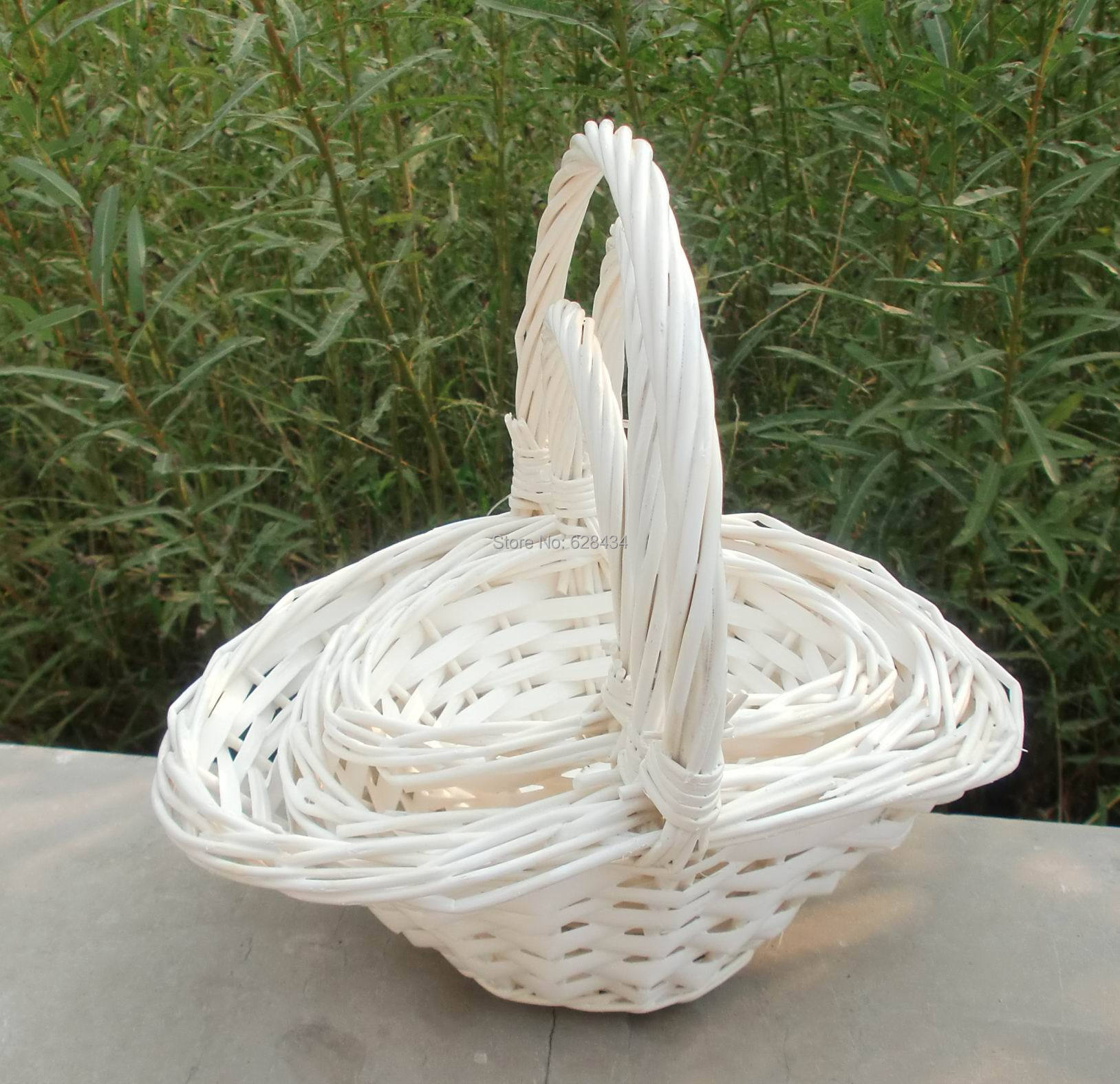 Free shipping elegant props white willow baske wicker bride wedding elegant props white willow baske wicker bride wedding flower girl basket mini home decor craft barbie doll dress in storage boxes bins from home garden mightylinksfo