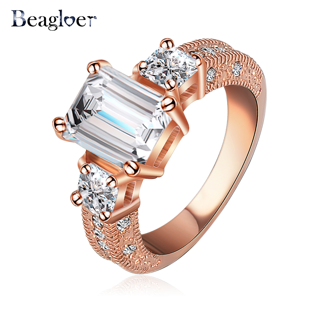 Beagloer New Arrival Ring Rose Gold/ Silver Color CZ Zircon Engagement Ring For Men Ri-HQ1018