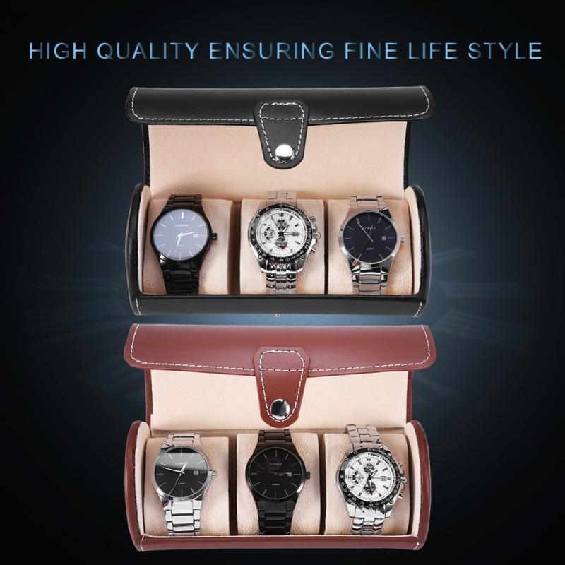 2 Farben 3 Grids Zylinder Uhr Roll Halter Armbanduhr Display Fall Schmuck Geschenk Lagerung Box Up-To-Date-Styling