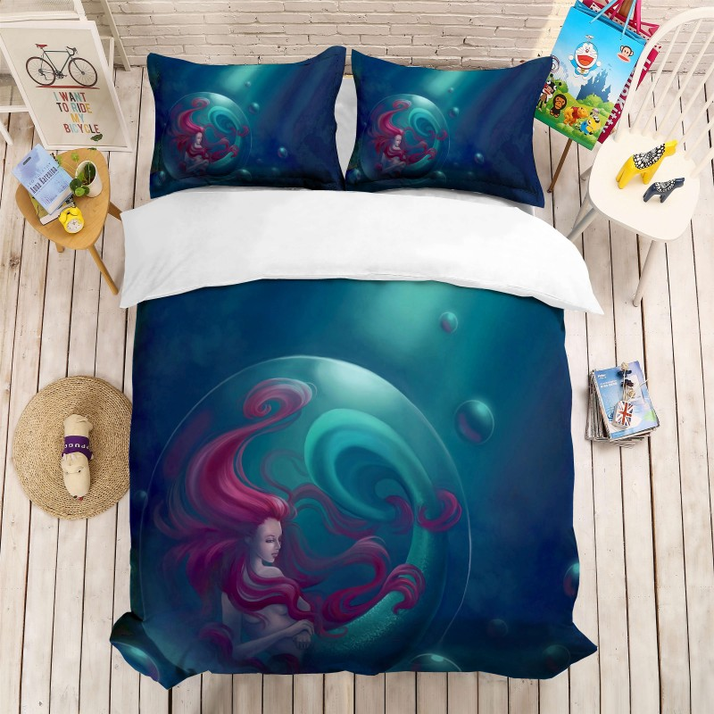 Cartoon Mermaid Girls Bedding Set Duvet Cover Pillowcases Full Queen California King Size Bed Sets 3D Printing Kids BedclothesCartoon Mermaid Girls Bedding Set Duvet Cover Pillowcases Full Queen California King Size Bed Sets 3D Printing Kids Bedclothes