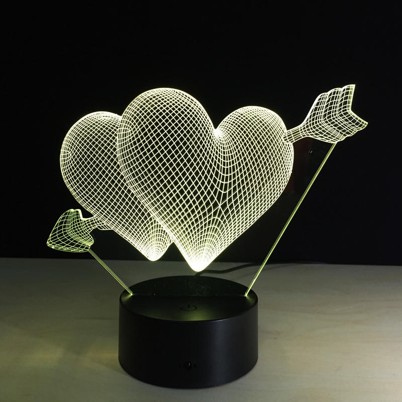 Wedding Night Gift For Wife: Lovers 3D Night Light LED Lamp Kids Room Bedroom Bedside