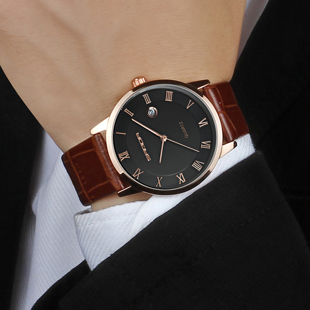 SANDA 7mm Super Slim Men's Watches Leather Business Leisure Calendar Quartz Watch Male clock relojes hombre relogio masculino