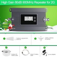 Высокая мощность мини 900 мГц GSM 2 г Мобильный усилитель сигнала 80dbi ретранслятор сигнала 2 г/м² усилитель сигнала сотовой комплект с ЖК-дисплей