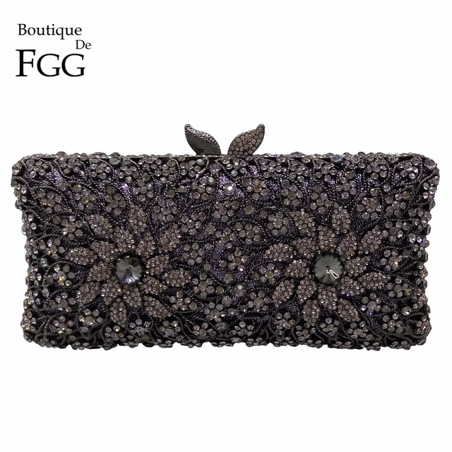 Elegance Hollow Out Flower Jet Black Crystal Women Evening Bags Metal Shoulder Handbag Minaudiere Clutch Bridal Wedding Clutches