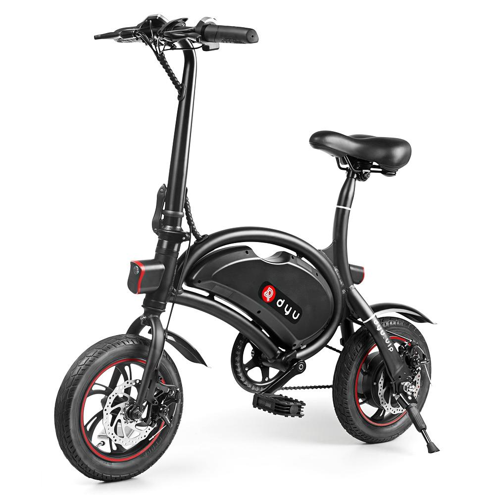 No TAX F-Wheel DYU D2 Folding Electric Bike 12inch Wheel 5.2Ah Large Battery EU Plug 250W Double Disc Brake Aluminum Alloy 2017 dyu d1 electric foldable bike luxury type