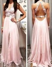 Fashion günstige Rosa Abendkleid Spitze Appliques backless lange abendkleid chiffon A-line bodenlangen vestido de festa AL01