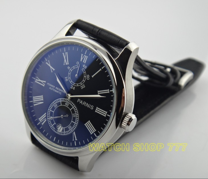 PARNIS 43mm black dial Automatic Self-Wind movement power reserve men's watch Mechanical watches wholesale GL17 parnis 47mm power reserve seagull movement black dial men automatic pilot watch pa4711sbw