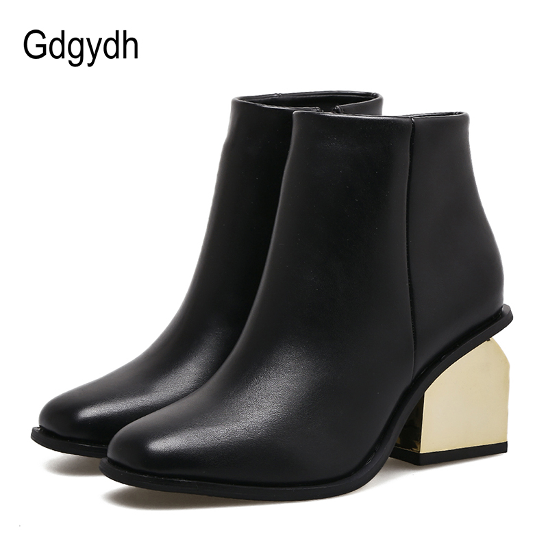 Gdgydh Autumn Shoes Chelsea Boots For Women 2017 New Fashion Strange Style Ladies Shoes High Heels Leather PU European Zipper