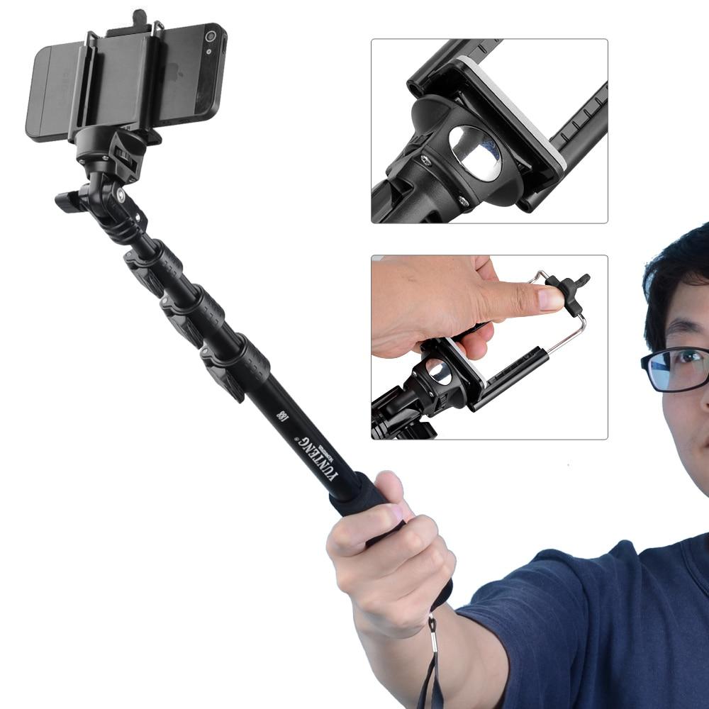 Yunteng 188 Portátil Handheld Telescópica Extensível com Pólo Selfies Câmera Monopé Tripé Para Selfie Vara para iPhone XS Max XR X