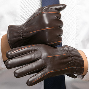 Image 2 - Gours冬の新メンズ本革手袋ゴートスキンミトンブラウンプラスベルベット暖かいファッション駆動GSM037