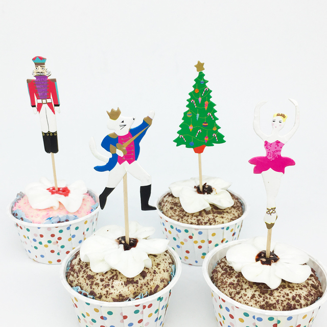 24pcs Lot Cartoon Soldier Mouse Christmas Tree Cake Cupcake Toppers