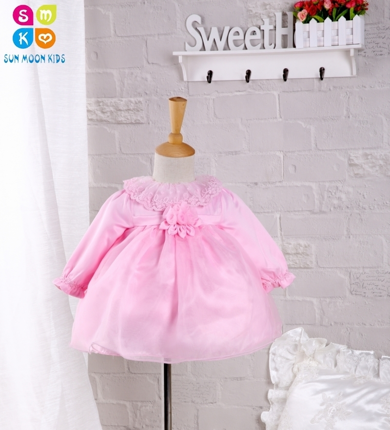Baby Girl Dress 2016 Autumn Style Girls Long-sleeve Bow Party Dresses Pink Lace 1 Year Birthday Dress,0-2Y star dress for girl european style bow tutu dress long sleeve mesh girls dresses leisure holiday kids clothes pink black
