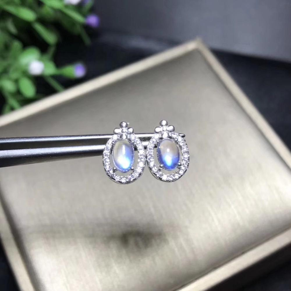 The simplest style, 925 silver natural moonstone stud earrings, blue moonstone, crystal clean, high end gemstones