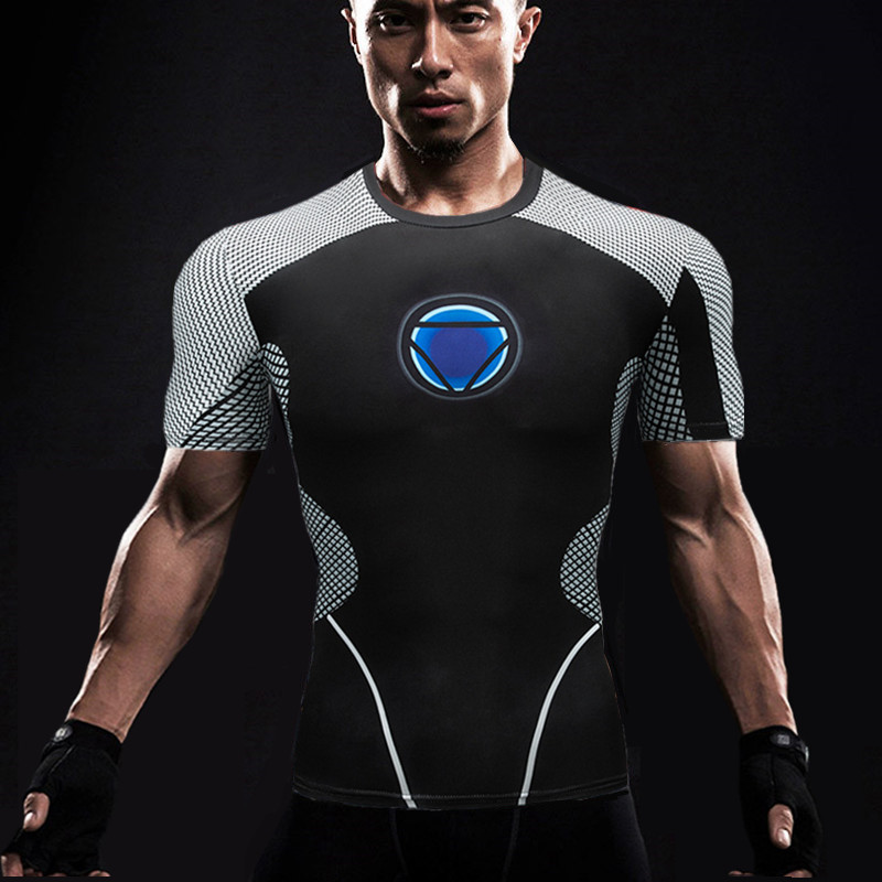 Mens compression top gym superhero avengers marvel muscle captain america MMA