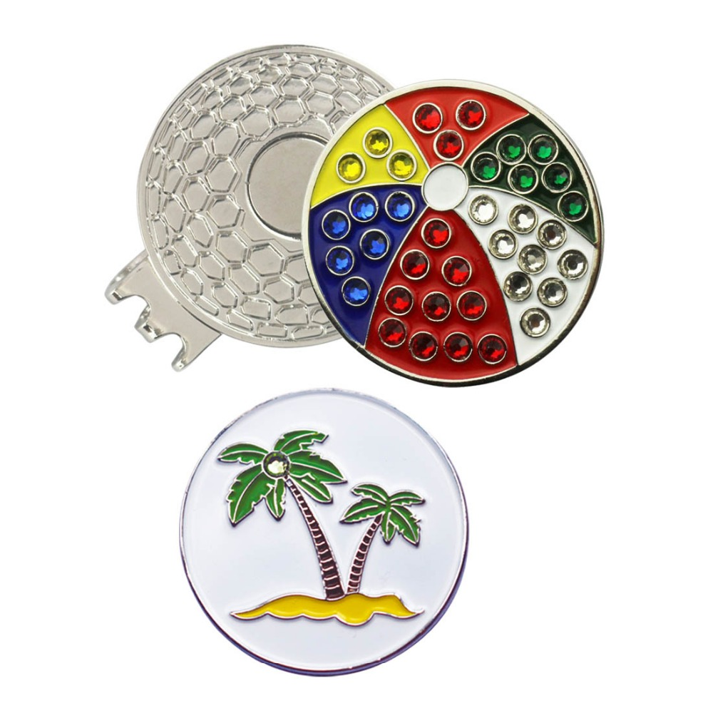 PINMEI Crystal Golf Ball Mark With Magnetic Hat Clip(Golf Cap Clips) Beach Bolleyball & Palm Tree Pattern