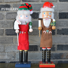 38CM big Nutcrackers Christmas home decoration Orignal wood chef with hat Figurines ornaments Puppet