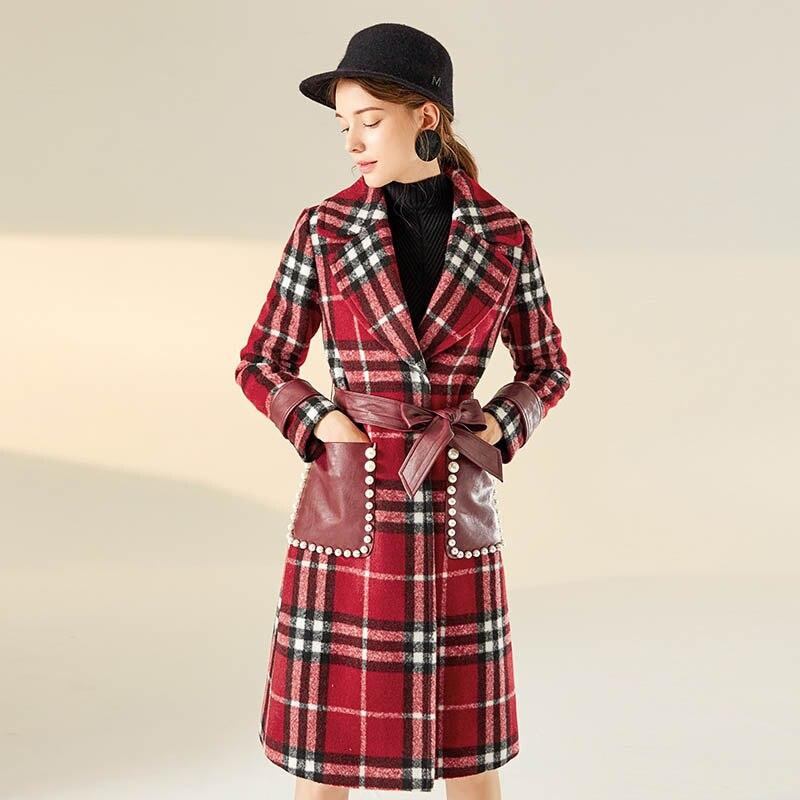 Réglable Chaud Manteau Robes Casual Double Breasted Lâche Mode N103 Femmes Nouvelle Taille Treillis Automne Veste De Hiver Laine Color Picture TlKJF13c