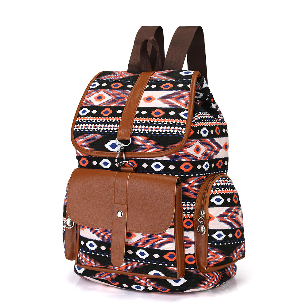 top Quality canvas Bohemia in retro style women s satchel floral canvas back young college book