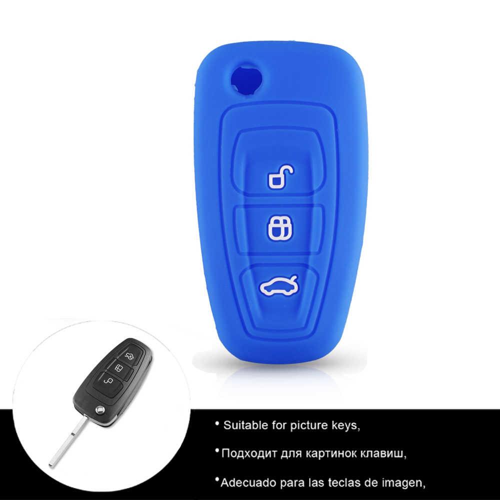 KEYYOU housse de clé à distance pour voiture en Silicone pour Ford Ranger c-max s-max Focus Galaxy Mondeo Transit Tourneo Escape personnalisé