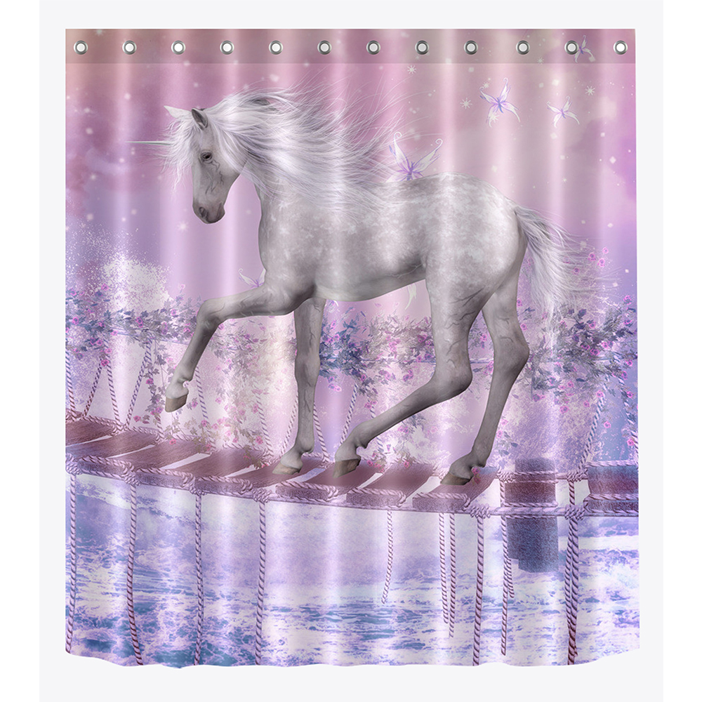 LB 3D Funny Fairy Unicorn Purple Pink Fantasy Kids Shower Curtain Liner Extra Long Waterproof Bathroom Fabric For Bathtub Decor In Curtains From Home