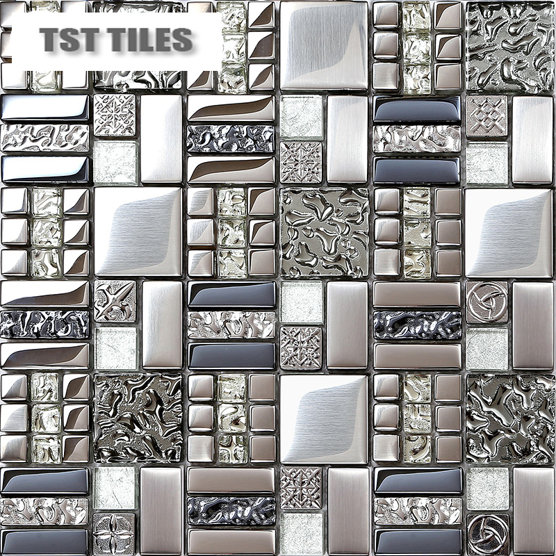 Home Tiles Mosaics Silver Metal Coating Glass Tile Backsplash Kitchen Bathroo