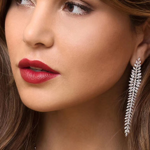 Image 5 - 925 Sterling Silver olive branch Long Earrings Micro Cubic Zircon Stones Women Leaf CZ Luxury Wedding Party Festival Jewelry