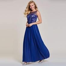 Женское вечернее платье без рукавов tanpel синее ТРАПЕЦИЕВИДНОЕ