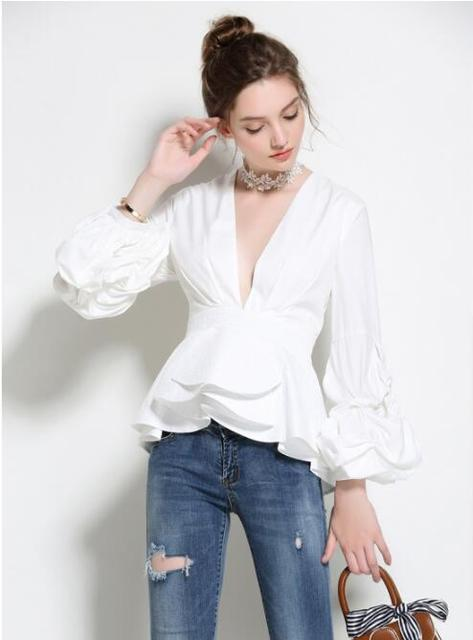 a19a6bfb2f 2018 Women Tops Shein Free Shiping2018 Spring And Summer New Europe America  Slim Sexy V Neck Sleeve Shirt Pure Color Tops Ol