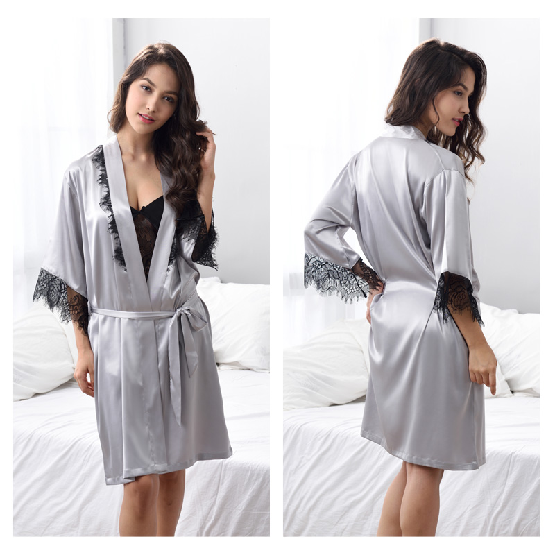 Pajamas Sets Sexy Lace Silk Sleepwear Women Three Piece Pyjama Shorts Set Soft Satin Silk Sleepwear kigurumi X3702 in Pajama Sets from Underwear Sleepwears