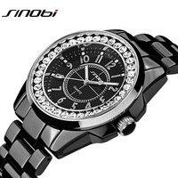 2017 SINOBI thương hiệu sang trọng nữ đồng hồ thời trang new gold kim cương giả ceramic dây đeo thạch anh xem nữ ăn mặc relojes mujer