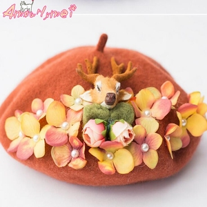 Sweet Princess Lolita Hat Japanese Style Mori Girl Manual Flower Antler Ears Wool Beret Hat For Women Beret Winter Warm Boina(China)