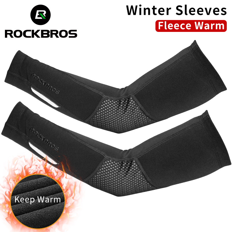 ROCKBROS Cycling Running Winter Fleece Warm Arm Sleeves Breathable Sports Elbow Pads Fitness Arm Covers Basketball Arm Warmers