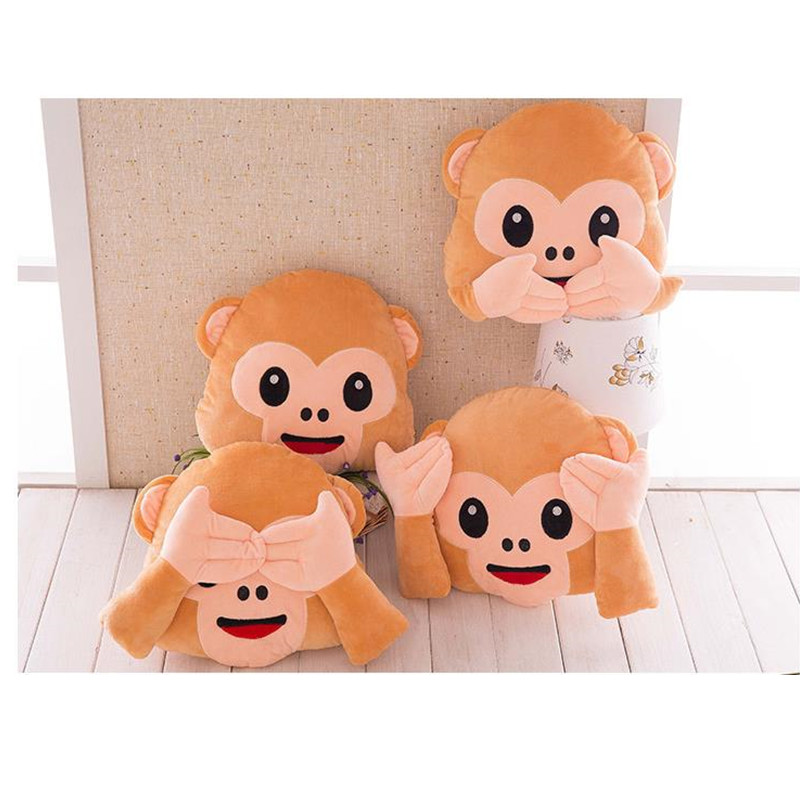 33cm Plush Monkey Emoji Pillows Seat Chair Cushion Smiley Face Decorative Emoji Pillow No Speaking No Looking No Listening Style