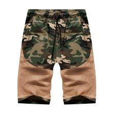 Camouflage Shorts for Men Cotton Sportswear Sweatpants Casual Pants Cargo Summer Black Khaki