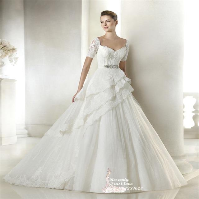Vestidos novia 2015 Princess style Short Sleeve Sweetheart neckline ...