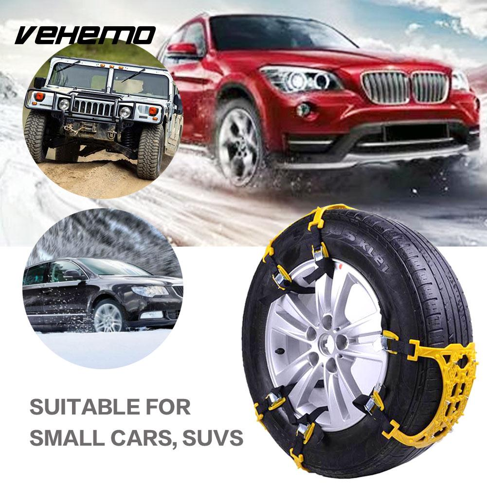 VEHEMO Yellow 1 Pc Tyre Roadway Safety Snow Tire Belt Snow Chain Accessories Anti-Skid Chains Emergency Climbing Mud Ground