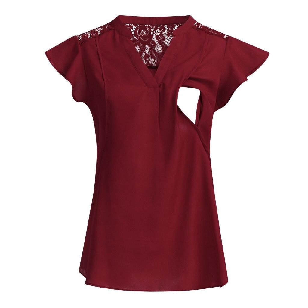 Maternity Blouse Women Pregnant Nusring V-Neck Short Sleeve Tops Lace Solid Camisas Maternidade Breastfeeding Blouses Shirt